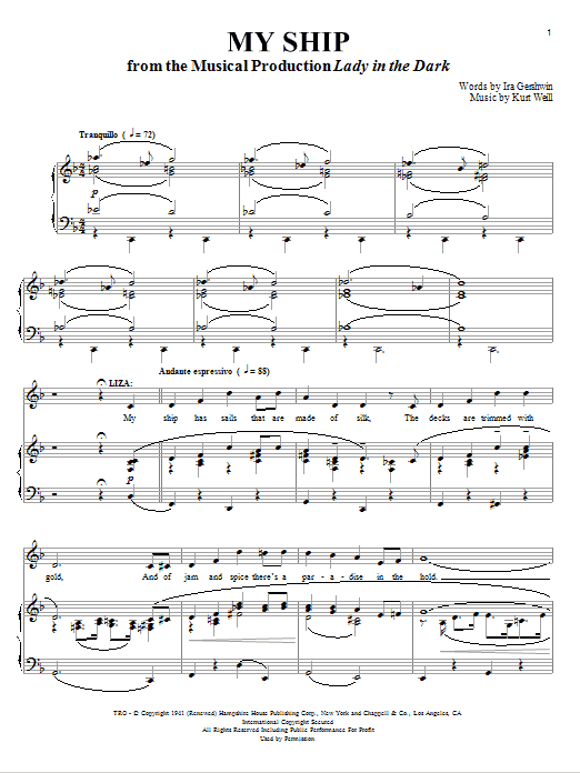 Partition piano My Ship de Kurt Weill - Piano Voix Guitare (Mélodie Main Droite)