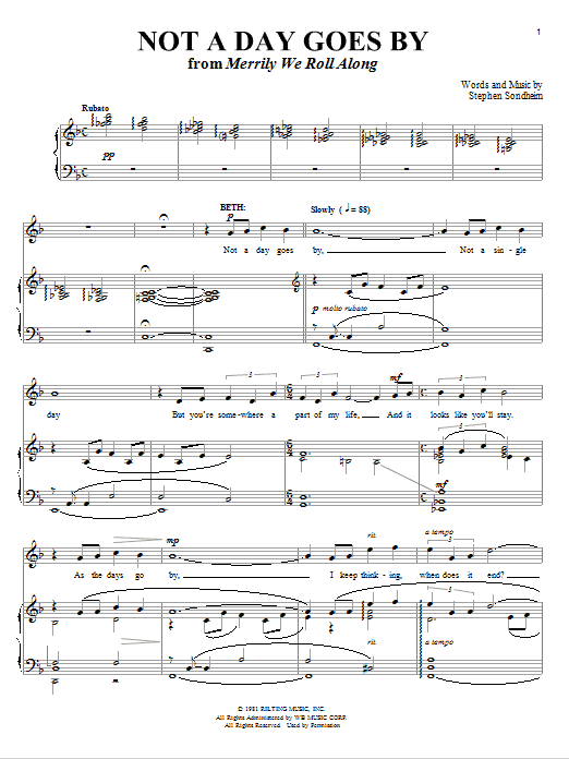 Partition piano Not A Day Goes By de Stephen Sondheim - Piano Voix