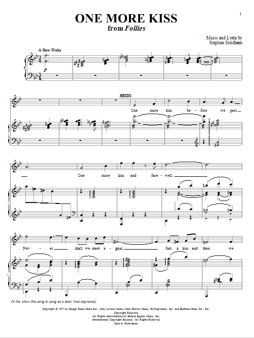 One More Kiss Sheet Music