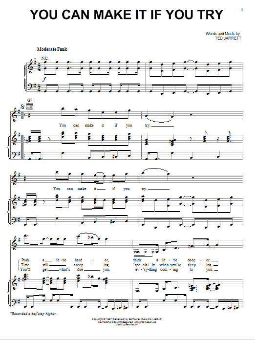 You Can Make It If You Try (Piano, Vocal & Guitar (Right-Hand Melody))