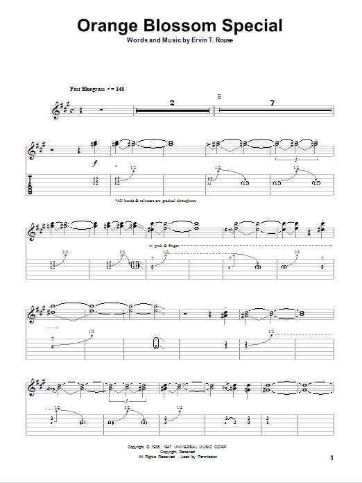 Tablature guitare Orange Blossom Special de Ervin T. Rouse - Playback Guitare