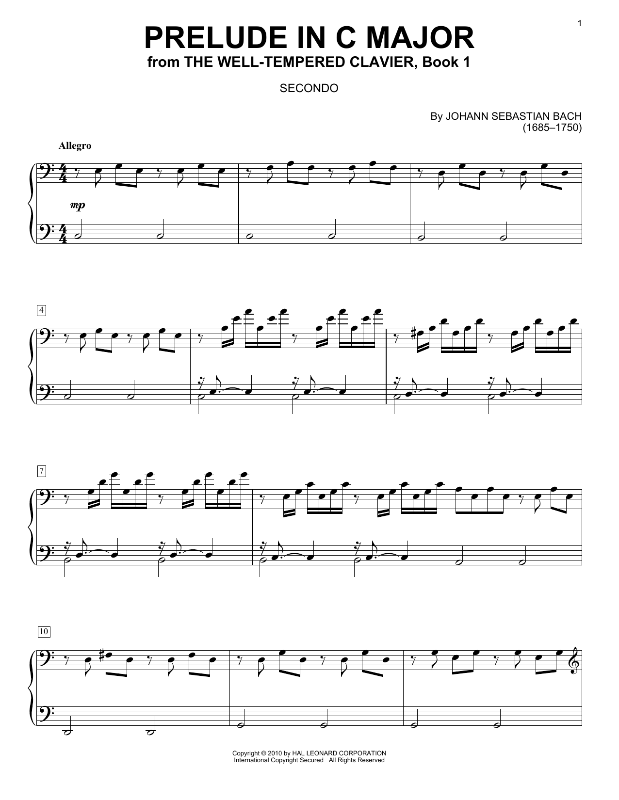 Prelude In C Major sheet music by J.S. Bach (Piano Duet ...