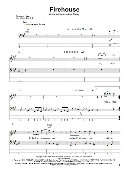 Tablature guitare Firehouse de KISS - Tablature Basse