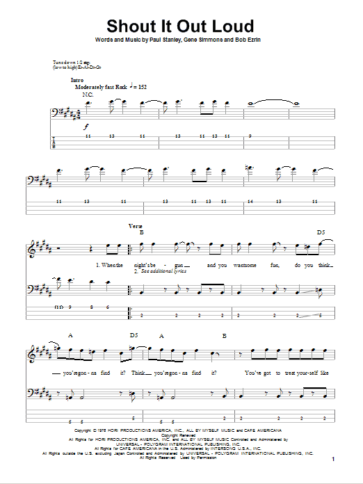 Tablature guitare Shout It Out Loud de KISS - Tablature Basse