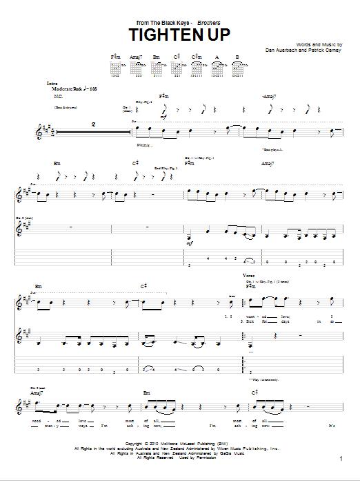 Tablature guitare Tighten Up de The Black Keys - Tablature Guitare