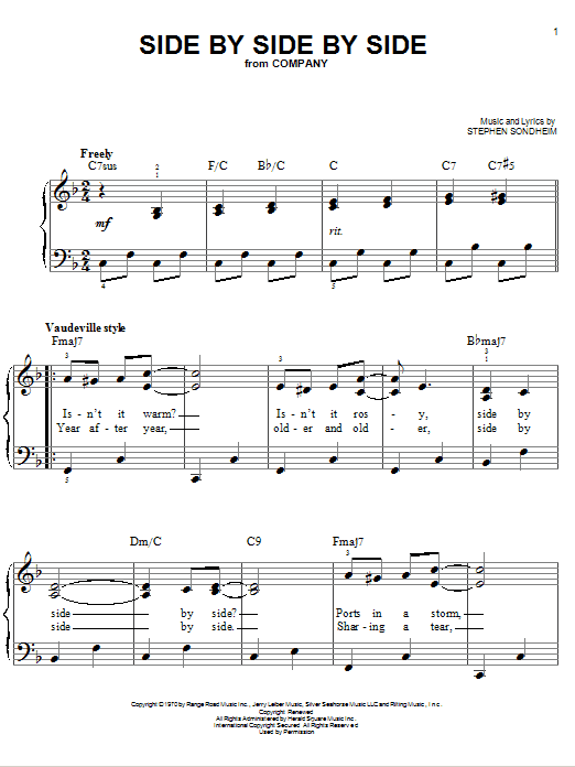 Partition piano Side By Side By Side de Stephen Sondheim - Piano Facile