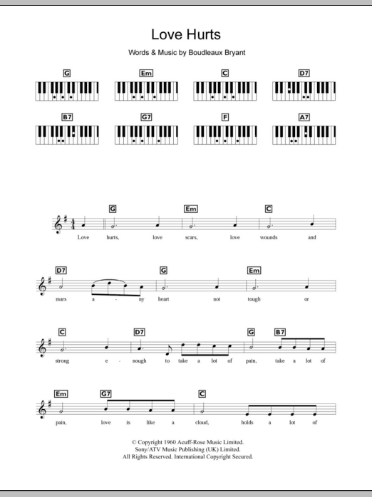Love Hurts Sheet Music The Everly Brothers Keyboard