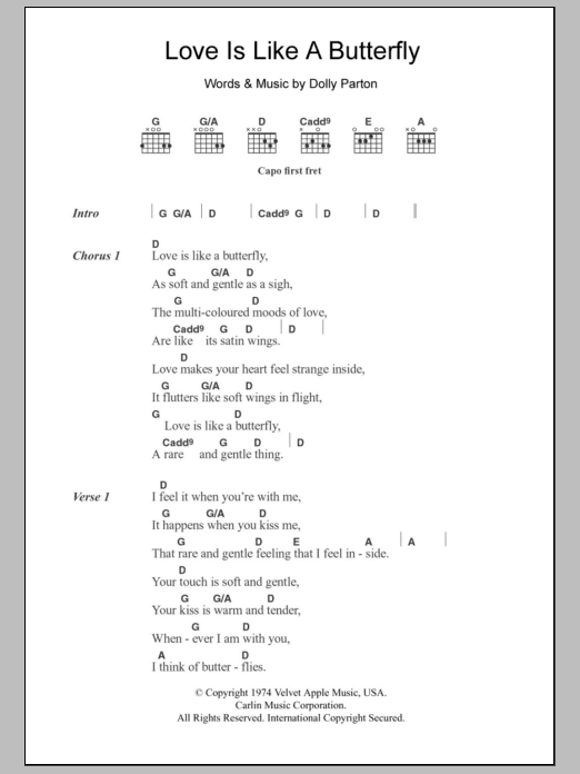 Love Is Like A Butterfly by Dolly Parton - Guitar Chords/Lyrics ...