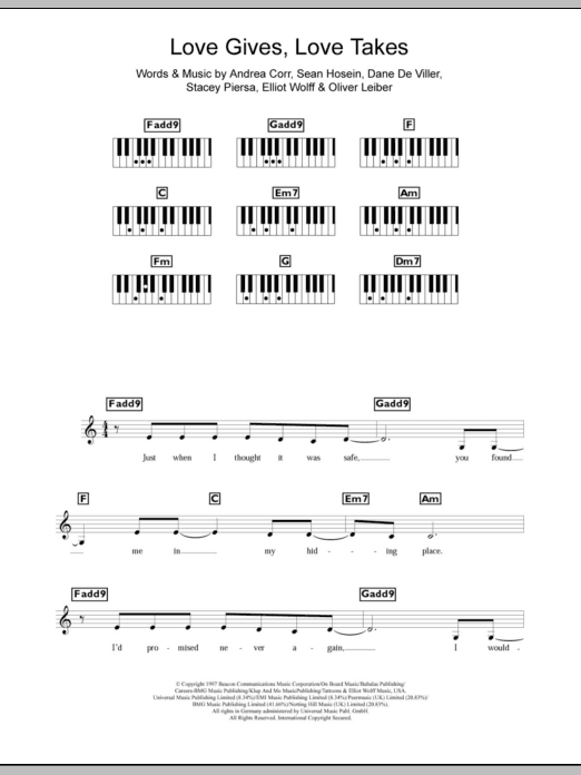 Love Gives Love Takes Sheet Music