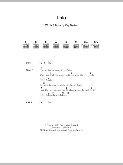 Lola by The Kinks - Guitar Chords/Lyrics - Guitar Instructor