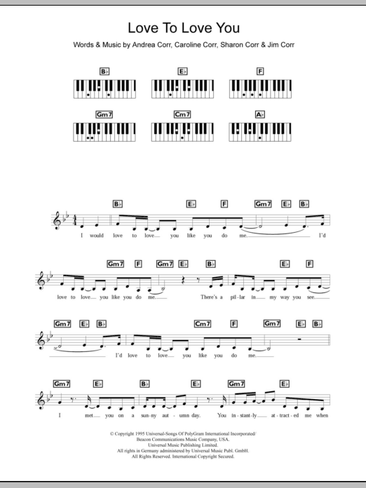 Love To Love You (Piano Chords/Lyrics)