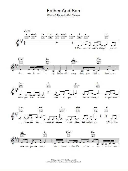 Father And Son Sheet Music Cat Stevens Melody Line Lyrics Chords