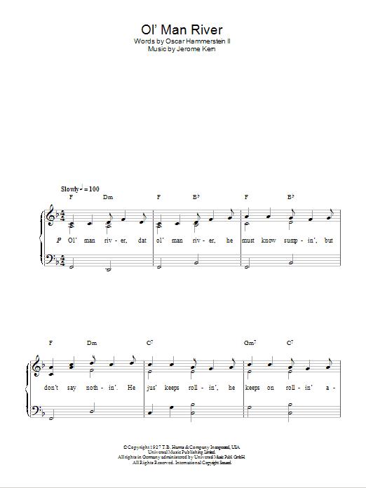 Ol' Man River (Easy Piano)