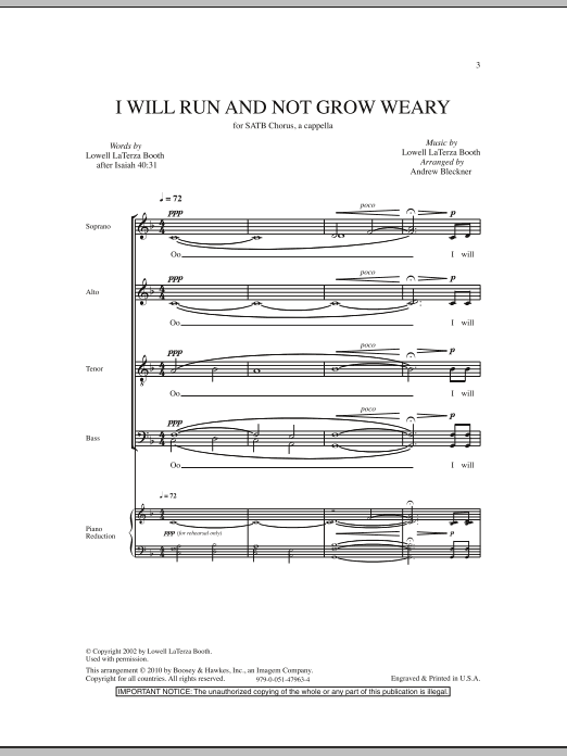 I Will Run And Not Grow Weary (SATB Choir)