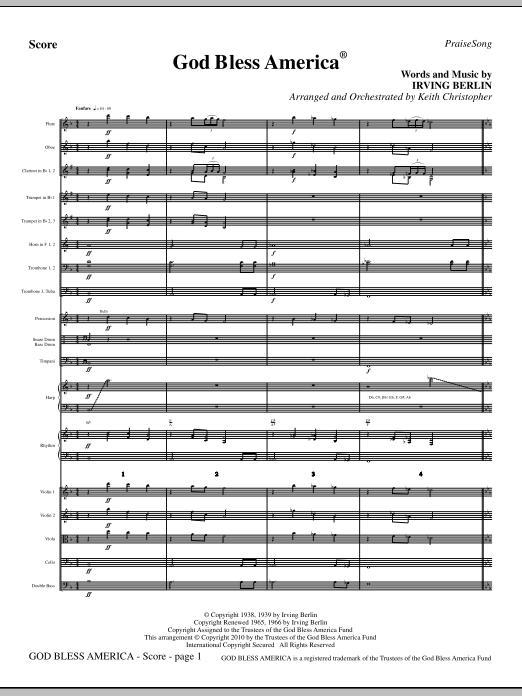 God Bless America - Full Score (Choir Instrumental Pak)