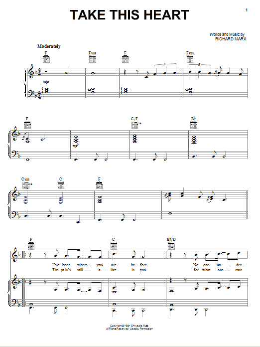 Take This Heart Sheet Music