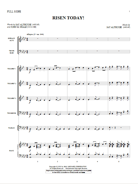Risen Today! (complete set of parts) sheet music for orchestra/band (Orchestra) by Jay Althouse and John Mason Neale. Score Image Preview.