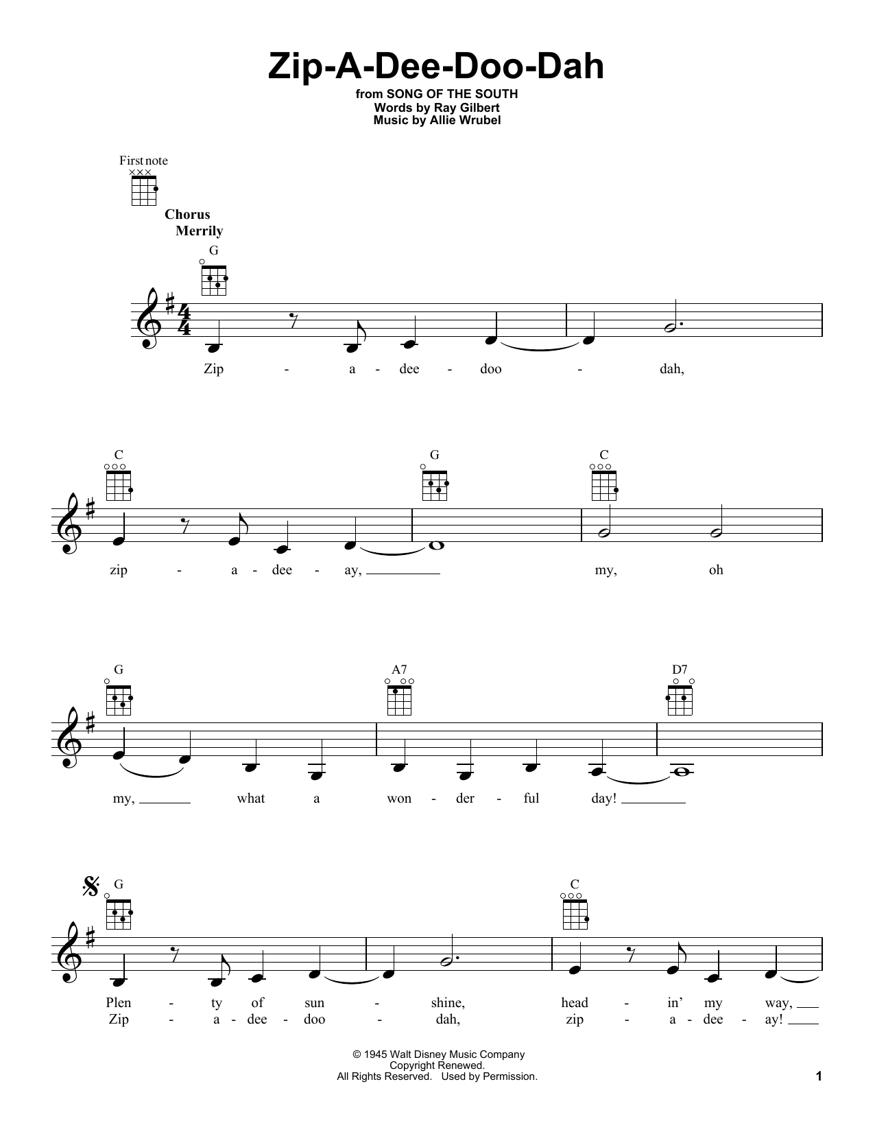Tablature guitare Zip-A-Dee-Doo-Dah de Ray Gilbert - Ukulele