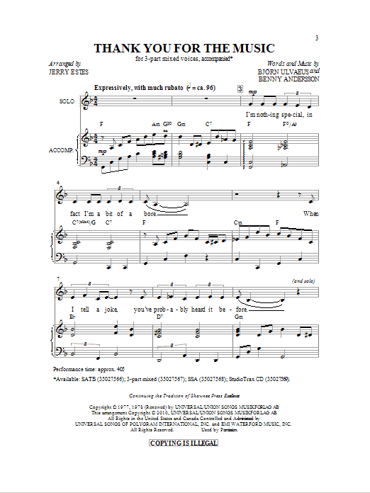 Thank You For The Music (arr. Jerry Estes) Sheet Music