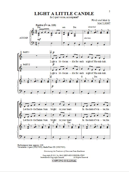 Partition chorale Light A Little Candle de Mac Light - 2 voix