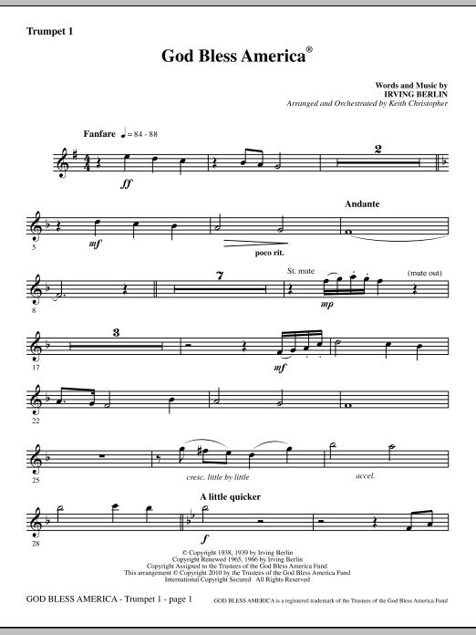 God Bless America - Trumpet 1 (Choir Instrumental Pak)