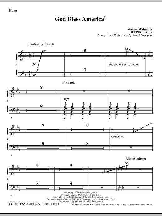 God Bless America - Harp (Choir Instrumental Pak)