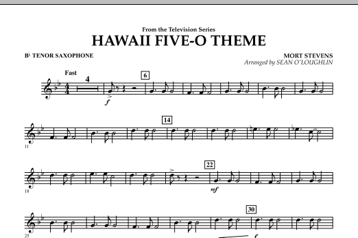 Hawaii Five-O Theme - Bb Tenor Saxophone (Concert Band)