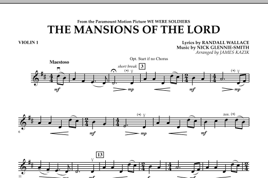 The Mansions Of The Lord (from We Were Soldiers) - Violin 1 Sheet Music