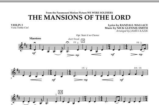 The Mansions Of The Lord (from We Were Soldiers) - Violin 3 (Viola Treble Clef) Partituras Digitales