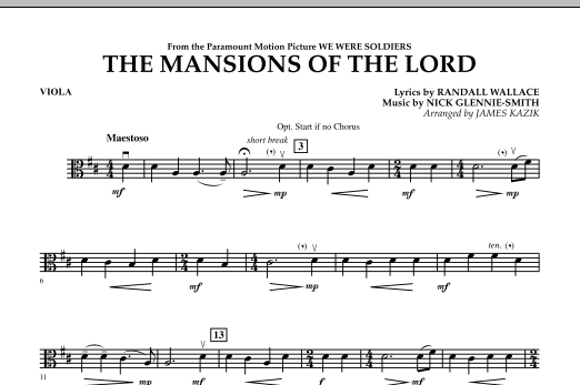 The Mansions Of The Lord (from We Were Soldiers) - Viola Sheet Music