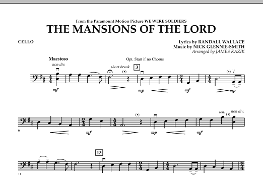 The Mansions Of The Lord (from We Were Soldiers) - Cello Sheet Music