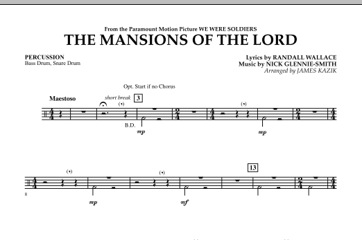 The Mansions Of The Lord (from We Were Soldiers) - Percussion Sheet Music