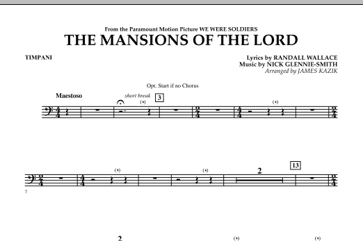 The Mansions Of The Lord (from We Were Soldiers) - Timpani Sheet Music