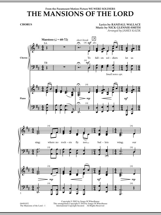 The Mansions Of The Lord (from We Were Soldiers) - Chorus Sheet Music