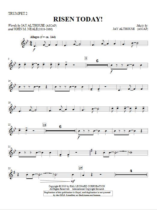 Risen Today! - Trumpet 2 in Bb