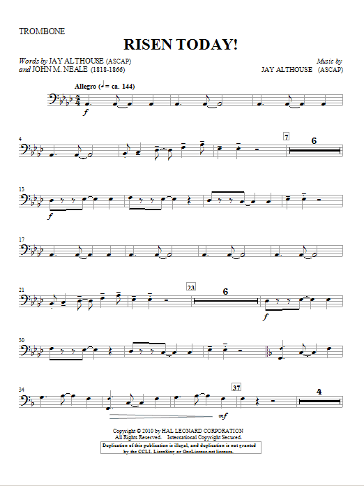 Risen Today! - Trombone Sheet Music