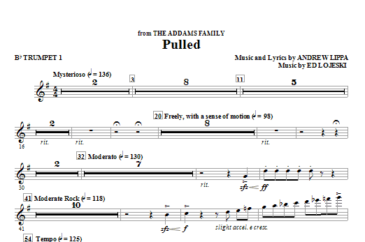 Pulled (from The Addams Family) (complete set of parts) sheet music for orchestra/band (chamber ensemble) by Andrew Lippa and Ed Lojeski. Score Image Preview.