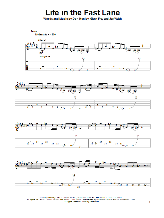 Life In The Fast Lane by Eagles - Guitar Tab Play-Along - Guitar ...