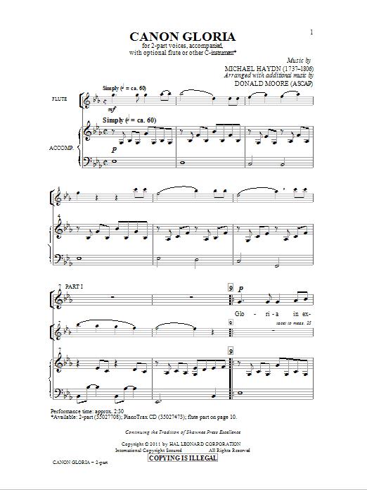 Partition chorale Canon Gloria de Donald Moore - 2 voix