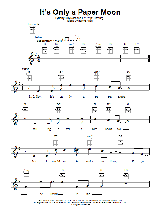 Tablature guitare It's Only A Paper Moon de E.Y. Harburg - Ukulele