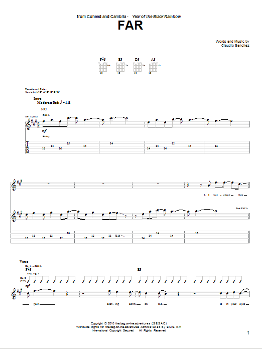 Tablature guitare Far de Coheed And Cambria - Tablature Guitare