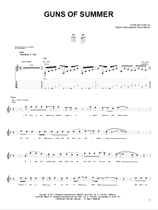 Tablature guitare Guns Of Summer de Coheed And Cambria - Tablature Guitare