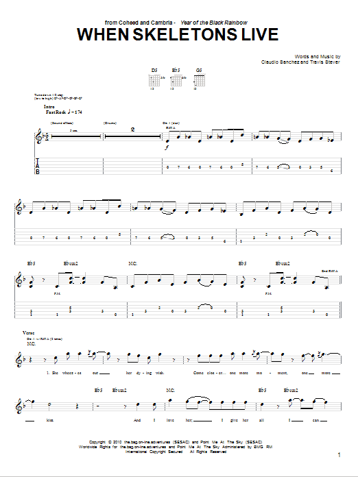 Tablature guitare When Skeletons Live de Coheed And Cambria - Tablature Guitare