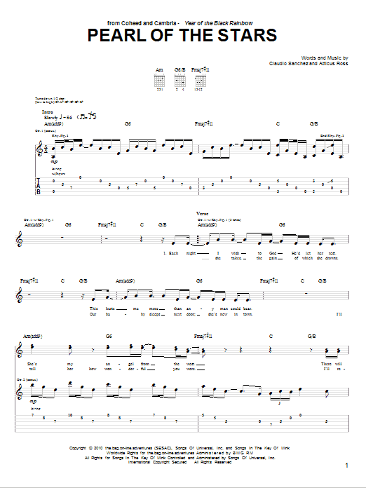 Tablature guitare Pearl Of The Stars de Coheed And Cambria - Tablature Guitare
