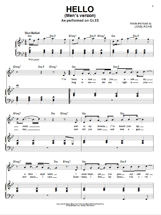 Hello sheet music by Glee Cast (Piano, Vocal u0026 Guitar (Right-Hand Melody) u2013 77577)