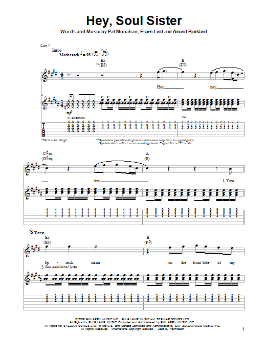 Hey, Soul Sister | Train | Guitar Tab Play-Along