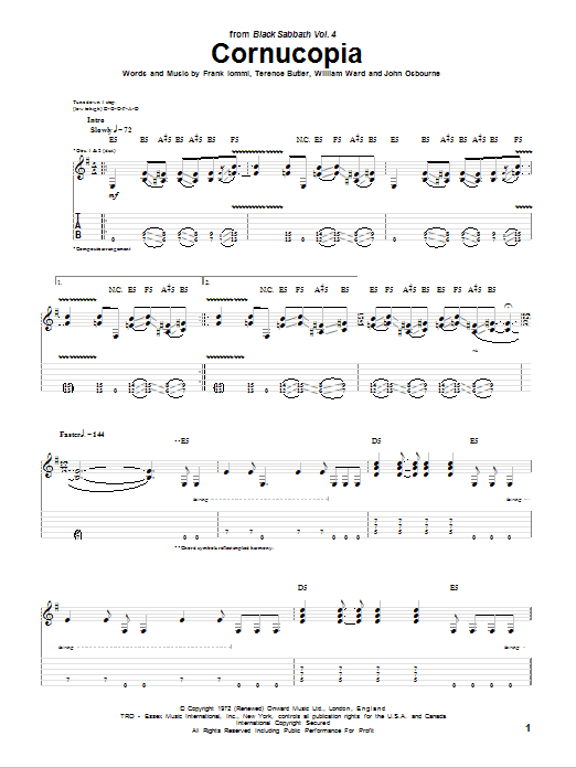 Tablature guitare Cornucopia de Black Sabbath - Tablature Guitare