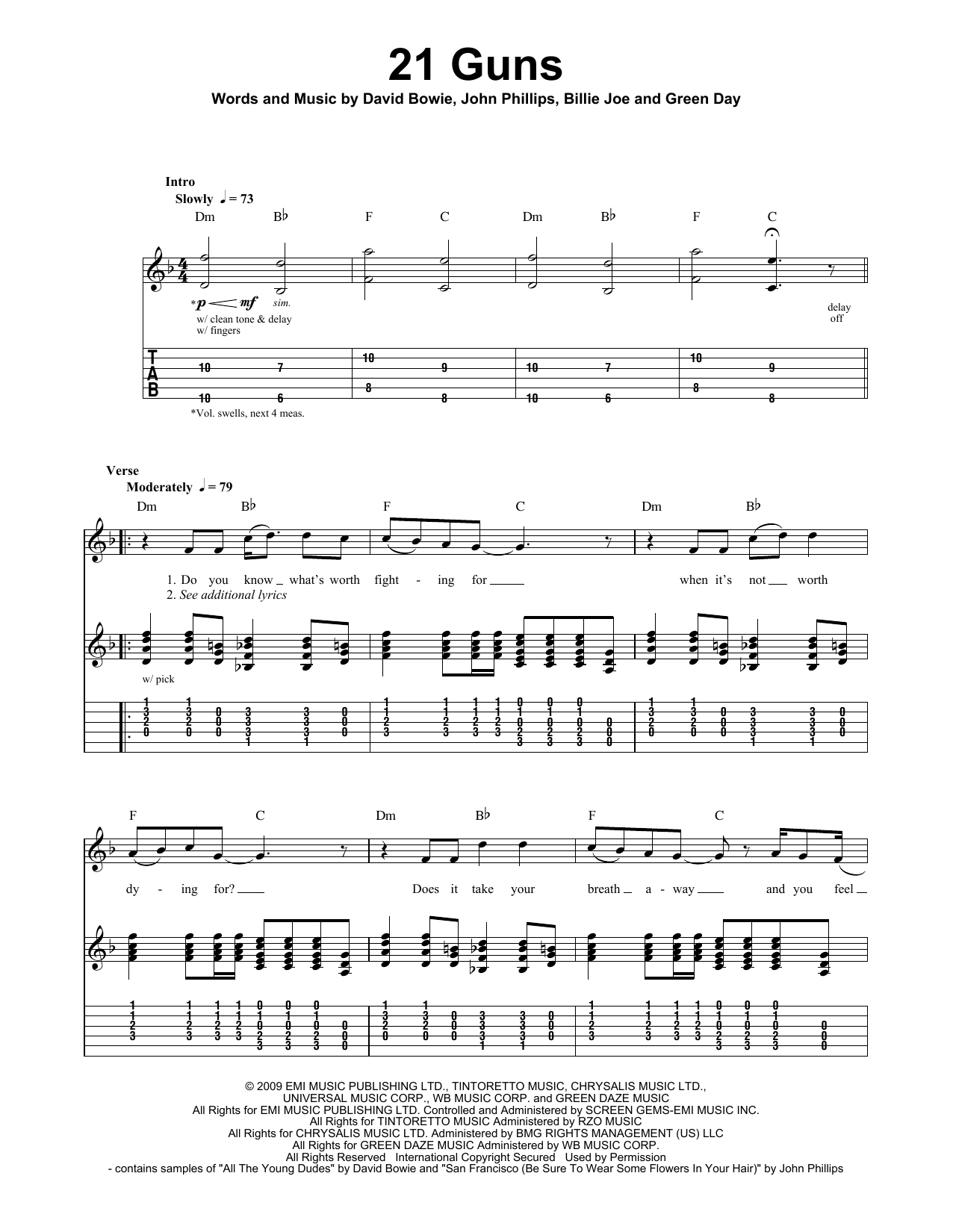 21 Guns Sheet Music