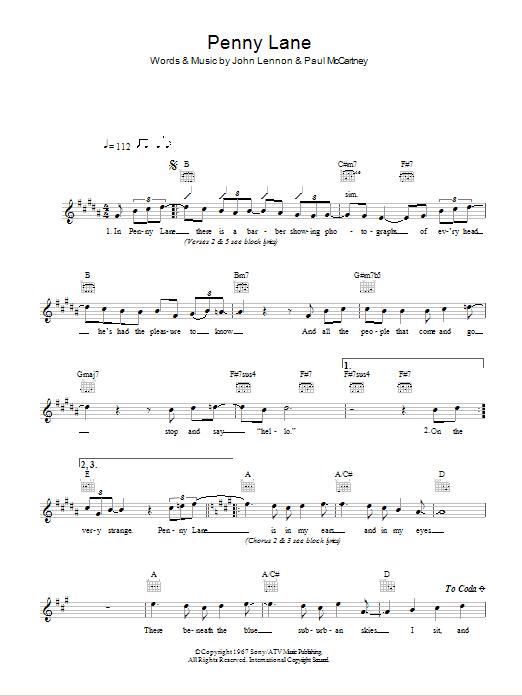 Penny Lane Sheet Music The Beatles Melody Line Lyrics Chords