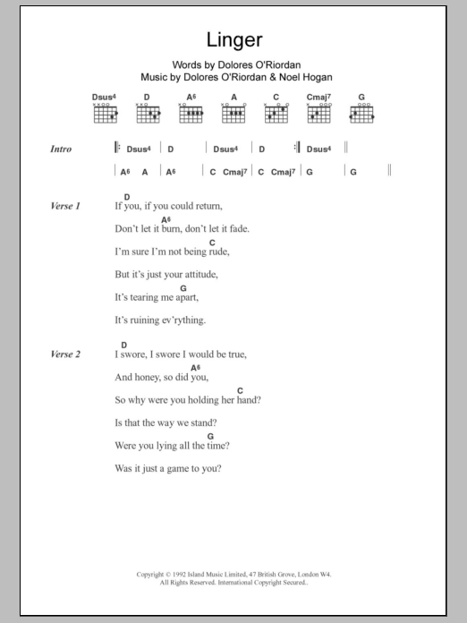 Linger By The Cranberries Guitar Chordslyrics Guitar Instructor